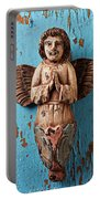 Angel On Blue Wooden Wall Portable Battery Charger