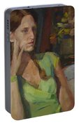 Angela In Green Dress Portable Battery Charger