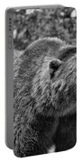 Angry Bear Black And White Portable Battery Charger