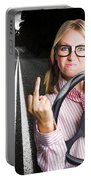 Angry Business Woman Expressing Road Rage Portable Battery Charger