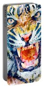 Angry Tiger Watercolor Close-up Portable Battery Charger