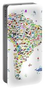 Animal Map Of South America For Children And Kids Portable Battery Charger