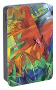 Animals In Landscape Red And Yellow Bulls Resting Portable Battery Charger