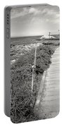Another Asilomar Beach Boardwalk Black And White Portable Battery Charger