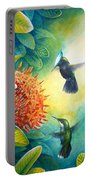 Antillean Crested Hummingbirds And Ixora Portable Battery Charger