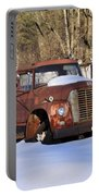 Antique Grungy Truck In Snow Portable Battery Charger