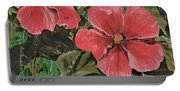 Antique Hibiscus Black 2 Portable Battery Charger