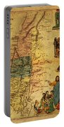 Antique Map Of Palestine 1856 On Worn Parchment Portable Battery Charger