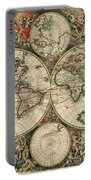 Antique Map Of The World - 1689 Portable Battery Charger