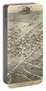 Antique Maps - Old Cartographic Maps - Antique Birds Eye View Map Of Denton, Texas, 1883 Portable Battery Charger