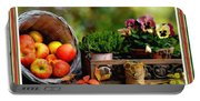 Apple Basket And Other Objects Still Life L B With Alt. Decorative Ornate Printed Frame. Portable Battery Charger