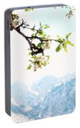 Apple Blossoms And Mountains Portable Battery Charger