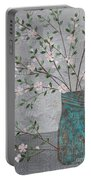 Apple Blossoms In Turquoise Vase Portable Battery Charger