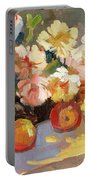Apples And Peonies Portable Battery Charger