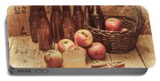 Apples Cider By Wicker Basket On Wooden Table Portable Battery Charger