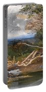 Approaching Storm In A Wooded Landscape Portable Battery Charger