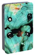 Aqua Teal Art - Volley - Sharon Cummings Portable Battery Charger