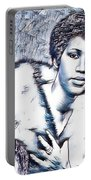 Aretha Franklin Portrait In Blue Portable Battery Charger