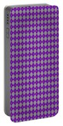 Argyle Diamond With Crisscross Lines In Paris Gray T30-p0126 Portable Battery Charger