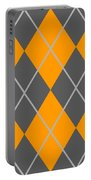 Argyle Diamond With Crisscross Lines In Pewter Gray T03-p0126 Portable Battery Charger