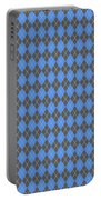 Argyle Diamond With Crisscross Lines In Pewter Gray T18-p0126 Portable Battery Charger