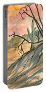 Arizona Evening Southwestern Landscape Painting Poster Print  Portable Battery Charger