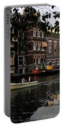Artist On Amsterdam Canal Portable Battery Charger