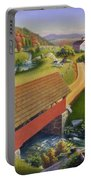 Folk Art Covered Bridge Appalachian Country Farm Summer Landscape - Appalachia - Rural Americana Portable Battery Charger
