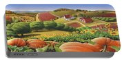 Farm Landscape - Autumn Rural Country Pumpkins Folk Art - Appalachian Americana - Fall Pumpkin Patch Portable Battery Charger