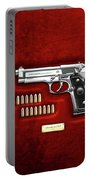 Beretta 92fs Inox With Ammo On Red Velvet  Portable Battery Charger