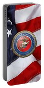 U. S. Marine Corps - U S M C Seal Over American Flag. Portable Battery Charger