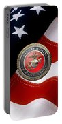U S M C Emblem Over American Flag Portable Battery Charger