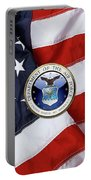 U. S.  Air Force  -  U S A F Emblem Over American Flag Portable Battery Charger