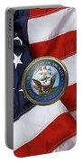 U. S.  Navy  -  U S N Emblem Over American Flag Portable Battery Charger