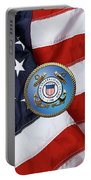 U. S. Coast Guard - U S C G Emblem Over American Flag Portable Battery Charger