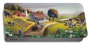 Appalachian Blackberry Patch Rustic Country Farm Folk Art Landscape - Rural Americana - Peaceful Portable Battery Charger