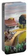 Appalachian Blackberry Patch Rustic Country Farm Folk Art Landscape - Rural Americana - Peaceful Portable Battery Charger