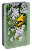 American Goldfinch Spring Portable Battery Charger by Crista Forest