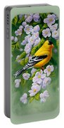 American Goldfinches And Apple Blossoms Portable Battery Charger
