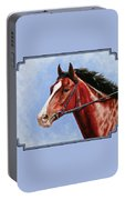 Horse Painting - Determination Portable Battery Charger by Crista Forest
