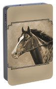Racehorse Painting In Sepia Portable Battery Charger