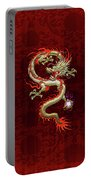 Golden Chinese Dragon Fucanglong On Red Silk Portable Battery Charger