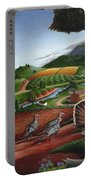 Wild Turkeys In The Hills Country Landscape - Square Format Portable Battery Charger
