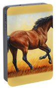 Running Horse - Evening Fire Portable Battery Charger by Crista Forest