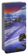 Winter Mountain Landscape - Cardinals On Holly Bush - Small Town - Sleigh Ride - Square Format Portable Battery Charger