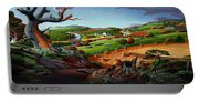 Appalachian Fall Thanksgiving Wheat Field Harvest Farm Landscape Painting - Rural Americana - Autumn Portable Battery Charger