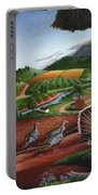 Wild Turkeys Appalachian Thanksgiving Landscape - Childhood Memories - Country Life - Americana Portable Battery Charger