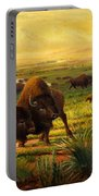 Buffalo Fox Great Plains Western Landscape Oil Painting - Bison - Americana - Historic - Walt Curlee Portable Battery Charger