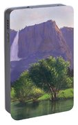 Mountains Waterfall Stream Western Mountain Landscape Oil Painting Portable Battery Charger