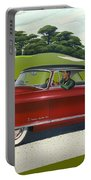 1953 Nash Rambler Car Americana Rustic Rural Country Auto Antique Painting Red Golf Portable Battery Charger